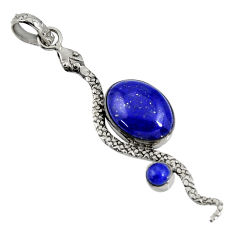 Clearance Sale- 10.77cts natural blue lapis lazuli 925 sterling silver snake pendant d38703