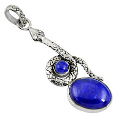 Clearance Sale- 11.21cts natural blue lapis lazuli 925 sterling silver snake pendant d38710