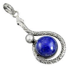 14.12cts natural blue lapis lazuli white pearl 925 silver snake pendant d38712