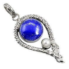 Clearance Sale- 13.34cts natural blue lapis lazuli white pearl 925 silver snake pendant d38713