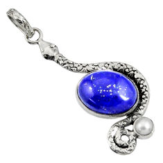 Clearance Sale- 925 silver 10.02cts natural blue lapis lazuli oval pearl snake pendant d38715