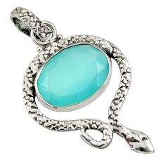 9.49cts natural aqua chalcedony 925 sterling silver snake pendant jewelry d38722