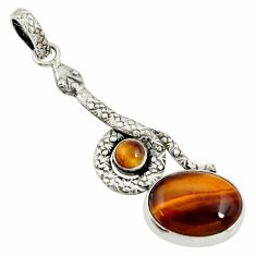 Clearance Sale- 9.86cts natural brown tiger's eye 925 sterling silver snake pendant d38726