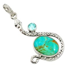 925 silver 9.56cts green arizona mohave turquoise topaz snake pendant d38727