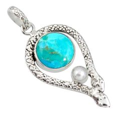 10.37cts green arizona mohave turquoise pearl 925 silver snake pendant d38731