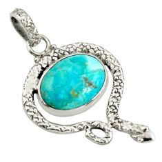 9.54cts green arizona mohave turquoise 925 sterling silver snake pendant d38732