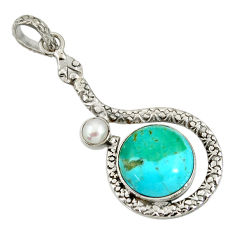 10.84cts green arizona mohave turquoise pearl 925 silver snake pendant d38735