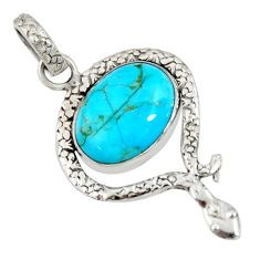 10.31cts green arizona mohave turquoise 925 sterling silver snake pendant d38736