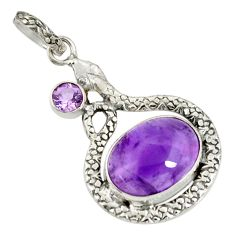 Clearance Sale- 10.64cts natural purple amethyst 925 sterling silver snake pendant d38753