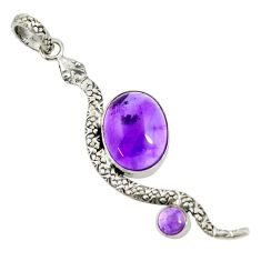 10.60cts natural purple amethyst 925 sterling silver snake pendant d38754