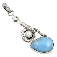 13.70cts natural blue owyhee opal pearl 925 sterling silver snake pendant d38759