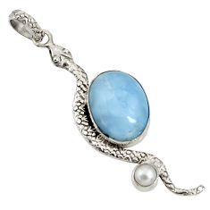 13.15cts natural blue owyhee opal pearl 925 sterling silver snake pendant d38760