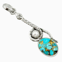 Clearance Sale- 9.47cts blue copper turquoise pearl 925 sterling silver snake pendant d38761