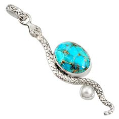 10.13cts blue copper turquoise pearl 925 sterling silver snake pendant d38763