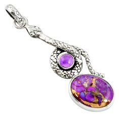 9.50cts purple copper turquoise amethyst 925 silver snake pendant d38765