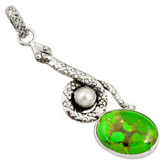pper turquoise pearl 925 sterling silver snake pendant d38769