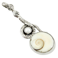 ver 17.20cts natural white shiva eye pearl snake pendant d38772