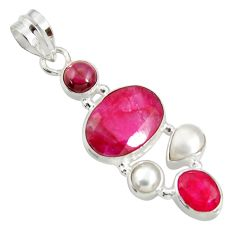 Clearance Sale- 9.63cts natural red ruby garnet 925 sterling silver snake pendant jewelry d38777