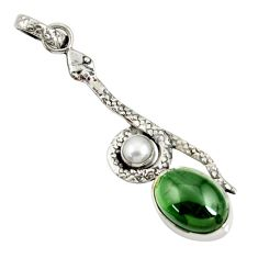 Clearance Sale- 925 silver 6.83cts natural black obsidian eye white pearl snake pendant d38778