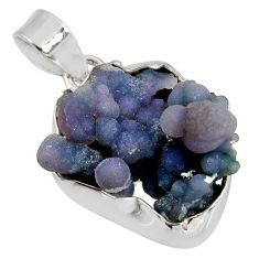 Clearance Sale- 925 silver 17.65cts natural purple grape chalcedony fancy shape pendant d38806