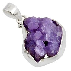 Clearance Sale- 24.38cts natural purple grape chalcedony 925 sterling silver pendant d38810