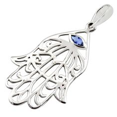 Hand of god filigree pendant- natural blue iolite 925 sterling silver