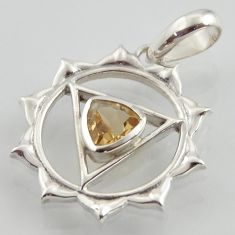 Throat chakra natural citrine 925 sterling silver pendant healing meditation