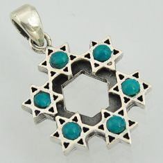 2.15cts fine green turquoise 925 sterling silver star of david pendant jewelry