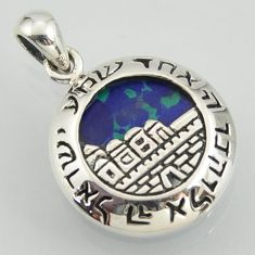 Religious pendant with city of jerusalem malachite in chrysocolla 925 silver