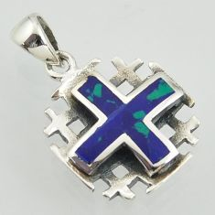 Jerusalem cross natural green malachite in chrysocolla 925 silver pendant