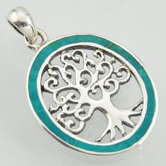 4.02gms fine green turquoise enamel 925 sterling silver tree of life pendant