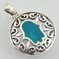 4.48gms fine green turquoise enamel 925 silver hand of god hamsa pendant
