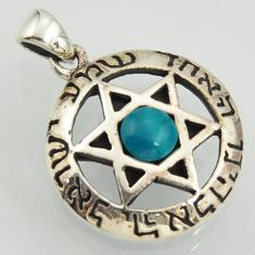 1.26cts fine green turquoise 925 sterling silver star of david pendant jewelry
