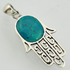 4.42cts fine green turquoise 925 sterling silver hand of god hamsa pendant