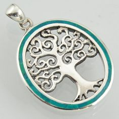 6.26gms fine green turquoise enamel 925 sterling silver tree of life pendant