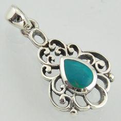 2.69gms filigree work fine green turquoise enamel 925 sterling silver pendant