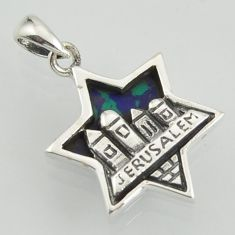 City of jerusalem malachite in chrysocolla 925 silver star of david pendant