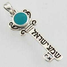 2.98gms tikun klali key kabbalah fine green turquoise enamel 925 silver pendant