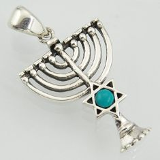 0.36cts hamukkah fine green turquoise 925 sterling silver star of david pendant