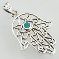 0.28cts evil eye fine green turquoise 925 silver hand of god hamsa pendant