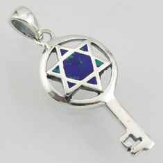 Key natural green malachite in chrysocolla 925 silver star of david pendant