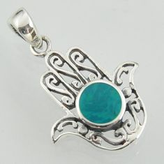 3.03gms fine green turquoise enamel 925 silver hand of god hamsa pendant