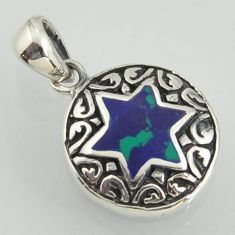 Spirit medallion malachite in chrysocolla 925 silver star of david pendant