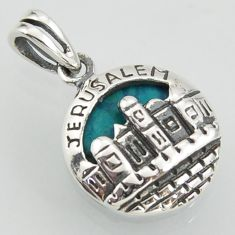 3.15cts city of jerusalem fine green turquoise 925 sterling silver pendant