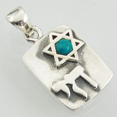0.33cts fine green turquoise 925 sterling silver star of david pendant jewelry