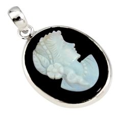 925 silver 16.20cts lady face natural opal cameo on black onyx pendant r14548