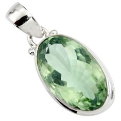925 sterling silver 16.17cts natural green amethyst oval pendant jewelry r14554