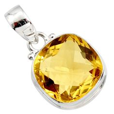 925 sterling silver 14.41cts natural yellow citrine pendant jewelry r14558