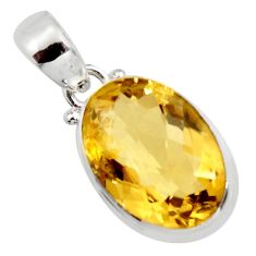 14.41cts natural yellow citrine 925 sterling silver pendant jewelry r14559