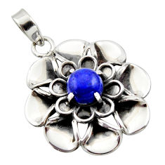 3.24cts natural blue lapis lazuli 925 sterling silver flower pendant r17421